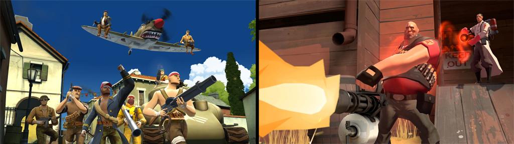 Comparación entre el look de Battlefield Heroes (izquierda) y Team Fortress 2 (derecha). Los críticos dicen que BF:H copia descaradamente la onda y estilo de TF2.
