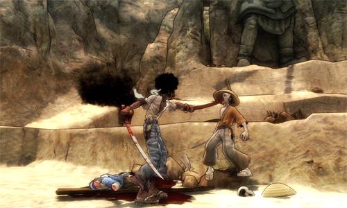 En Afro Samurai se apuñala por la boca!
