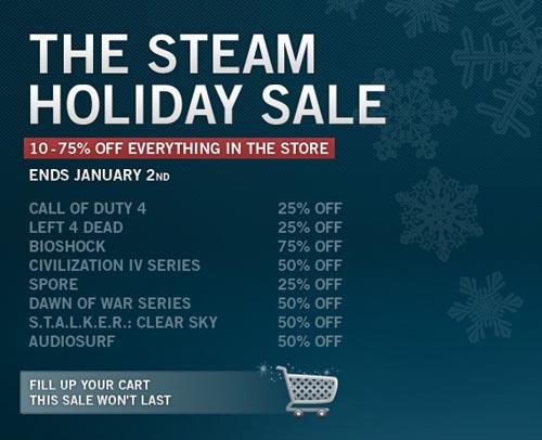 Steam rebaja juegos por el período de fiestas