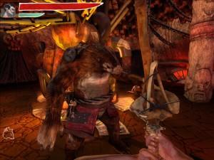 Los oponentes grandes son muy fuertes para el combate mano a mano y deben ser atacados con armas como un garrote de hueso o un martillo.