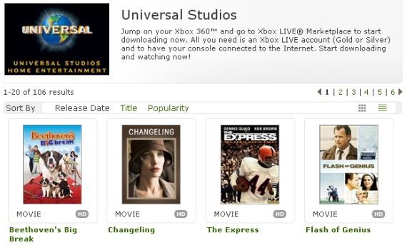Universal Pictures sale a vender películas por el Xbox Live Marketplace