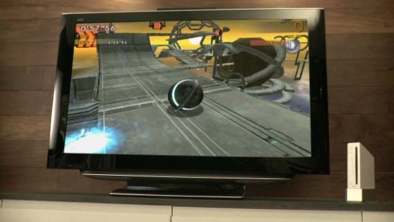 Vertigo, maneja una pelotita con los pies por medio de la Wii Balance Board