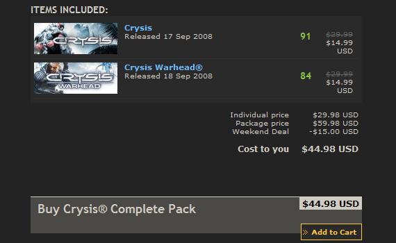 Crysis a mitad de precio este fin de semana [y Steam aplica matemágicas]