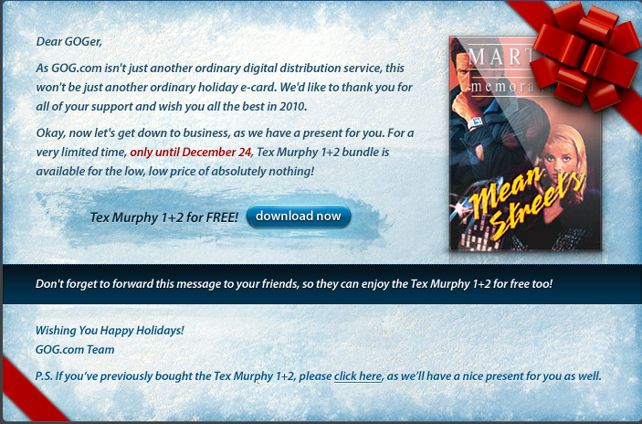 Tex Murphy 1 y 2 gratis hasta navidad