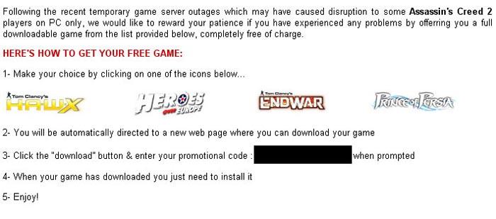 Ubi la arregla un poco: Regala juegos para compensar el downtime de Assassin's Creed 2 [OK]