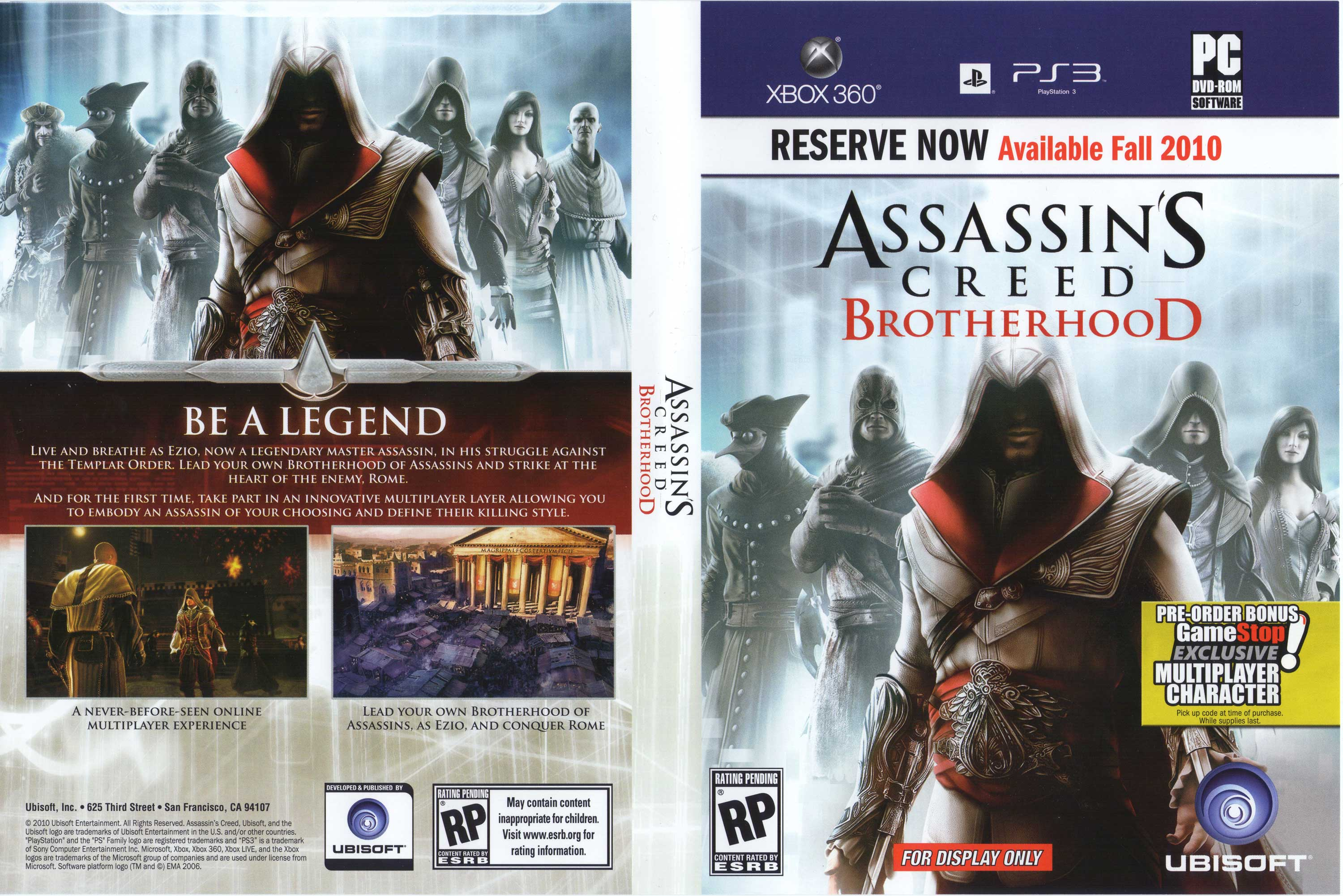 Assassin's Creed: Brotherhood confirmado por Ubi… y será multiplayer [CHAN y Megafoto]