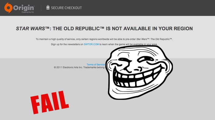 Se inicia la pre-orden de Star Wars: The Old Republic yeah!… oh wait ¿no disponible en su zona? [MONSTER FAIL]