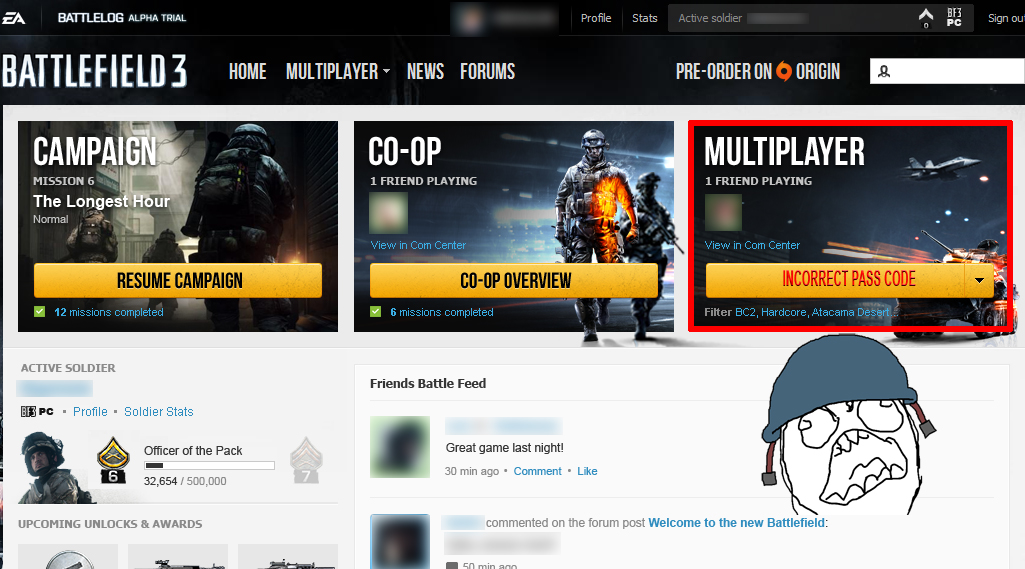 Battlefield 3, problemas para entrar al multijugador, pass code incorrecto! [Problem?] [Actualización]