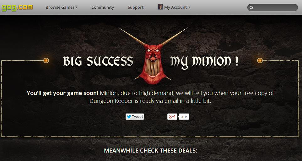 Dungeon Keeper gratis en GOG.com [run Bitches!]