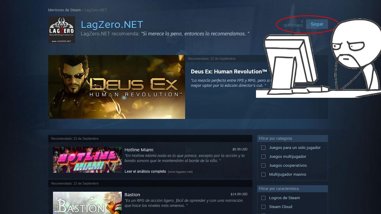 Estamos resucitando el grupo de LagZero en Steam con su nueva característica, las recomendaciones