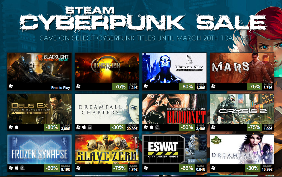 Super ofertón de juegos cyberpunk en Steam [Shut up and take my money!]