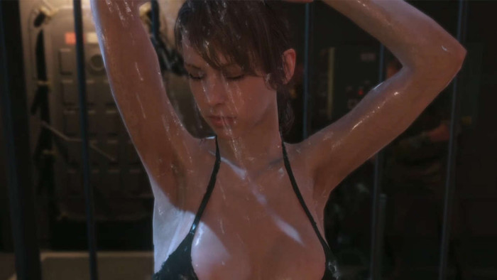 Escena de Quiet bañándose en Metal Gear Solid V: The Phantom Pain [UN MANJARS]