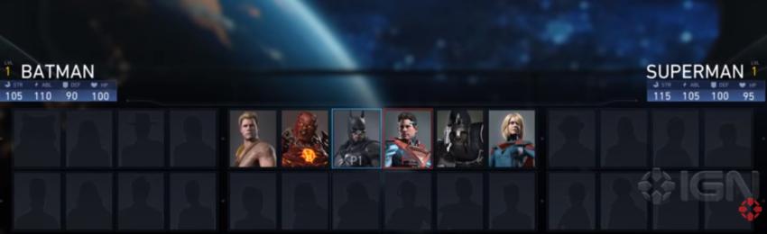 Injustice 2 Gameplay seleccion personajes
