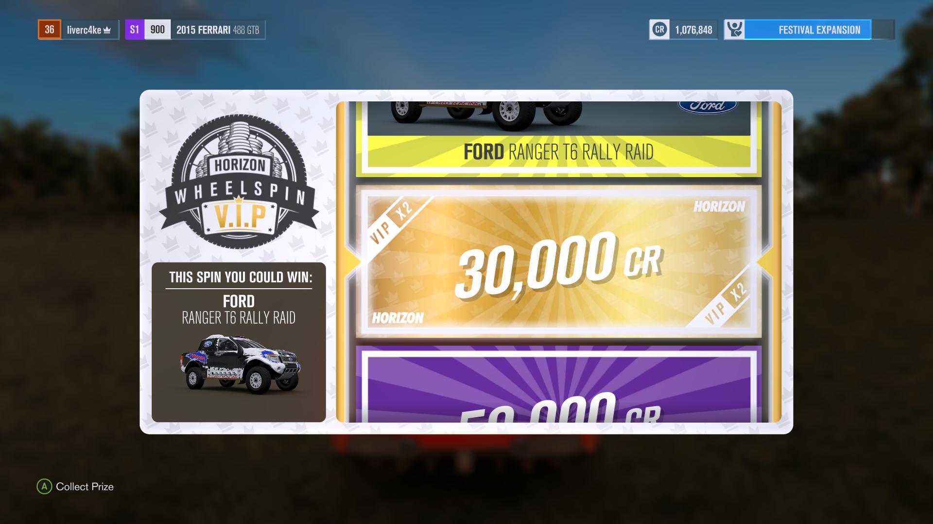La ruleta de la suerte! Gánate autos gratis, plata, XP boosts... no puedes tener un festival sin rueda de la suerte.