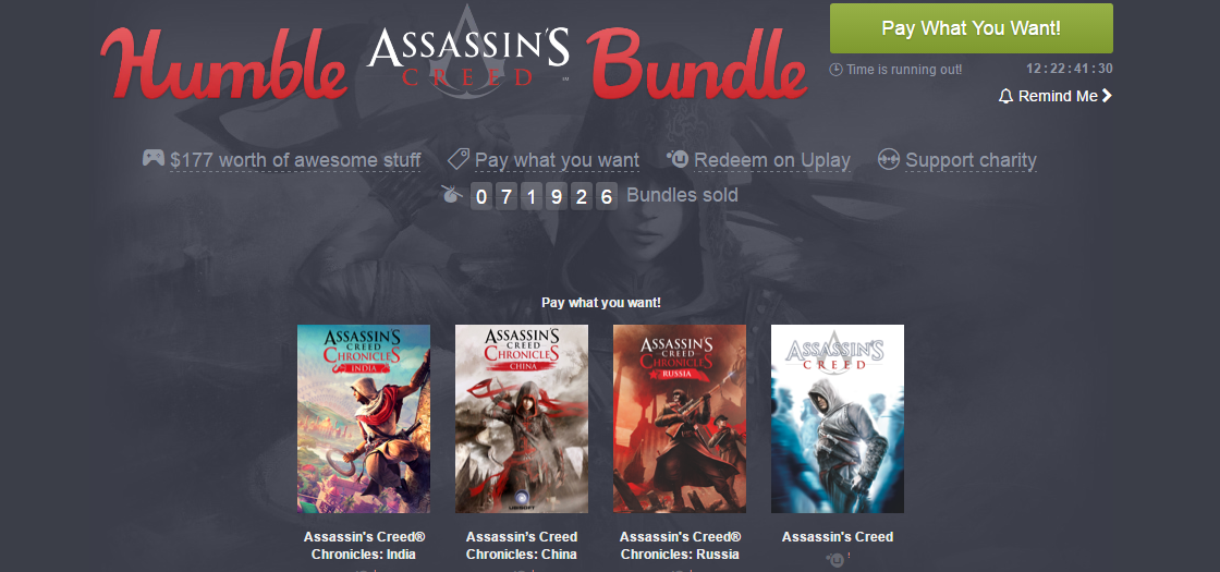Assassin's Creed llega al Humble Bundle