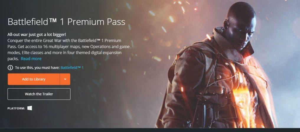 Premium Pass de Battlefield 1 gratis por tiempo limitado