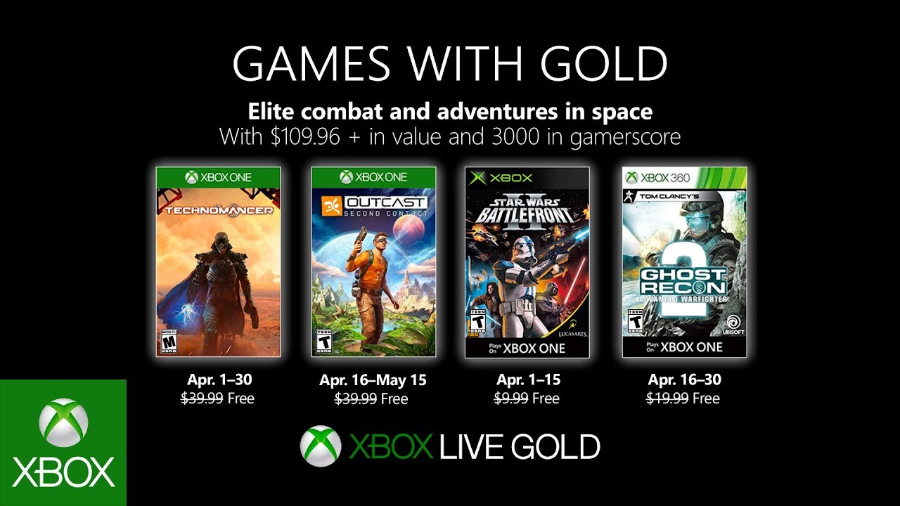 Estos son los Games with Gold de abril