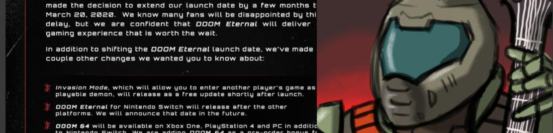 ¡Malas Noticias! Doom Eternal se retrasa hasta Marzo